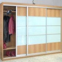 трехдверный комбинированный шкаф купе лдсп матовое стекло