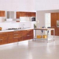 комбинированный прямой кухонный гарнитур стекло дерево металл