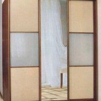 трехдверный комбинированный шкаф купе лдсп зеркало матовое стекло