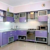 угловая сиреневая кухня столешница металлик