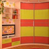вогнутый радиусный шкаф-купе в детскую