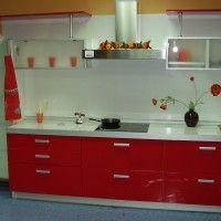современный красный кухонный гарнитур пластик