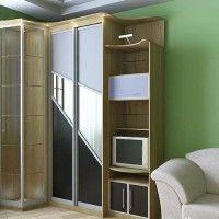 комбинированный шкаф-купе с цветным стеклом
