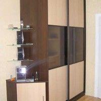 комбинированный шкаф-купе 2 двери лдсп матовое стекло в зал