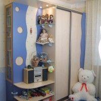 сине-белый шкаф-купе в детскую с наружными полками
