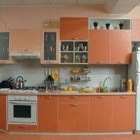 прямой оранжевый кухонный гарнитур