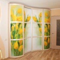 радиусный шкаф-купе с фотопечатью тюльпаны