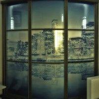 радиусный шкаф-купе с фотопечатью ночной город