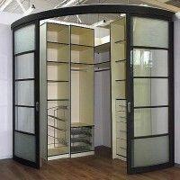 стеклянные радиусные двери купе для гардеробной