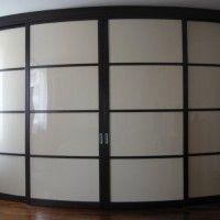 белый выпуклый радиусный шкаф-купе 4 двери