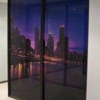 прямой трехдверный шкаф-купе с фотопечатью ночной город