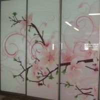 шкаф-купе 3 двери стекло фотопечать ветка сакуры