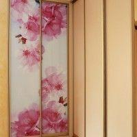 угловой комбинированный шкаф купе фотопечать розовые цветы