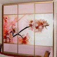 шкаф купе трехдверный фотопечать ветка сакуры