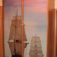 прямой шкаф-купе две двери фотопечать корабль
