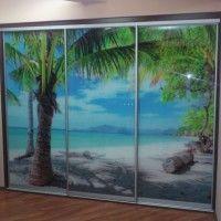 прямой шкаф-купе 3 двери фотопечать пальмы