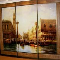 прямой трехдверный шкаф-купе с фотопечатью венеция