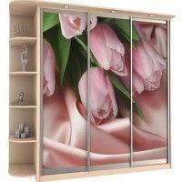 прямой трехдверный шкаф-купе фотопечать тюльпаны