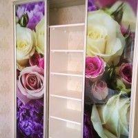 прямой трехдверный шкаф-купе фотопечать розы