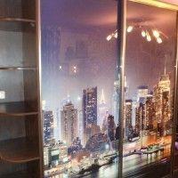 прямой шкаф-купе две двери фотопечать город ночью