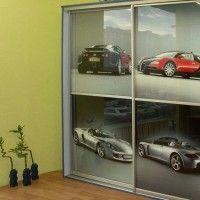 прямой двухдверный шкаф купе фотопечать машины