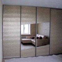 встроенный шкаф купе 4 двери с золотым пескоструем