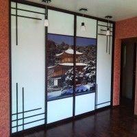 прямой шкаф-купе 4 двери фотопечать в японском стиле