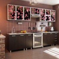 коричневый кухонный гарнитур фотопечать сакура