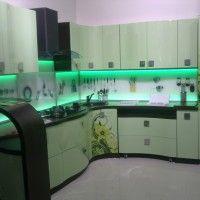 угловой кухонный гарнитур фотопечать и подсветка