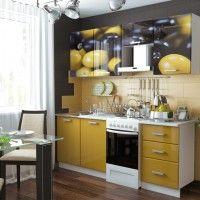 маленькая кухня с фотопечатью оливки в хрущевку