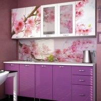 розовая кухня фотопечать сакура на фасадах