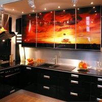 черная кухня фотопечать на фасадах