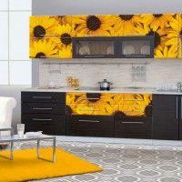 черный кухонный гарнитур с фотопечатью желтые ромашки