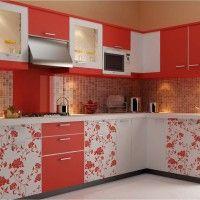 бело-красный кухонный гарнитур с фотопечатью на фасадах