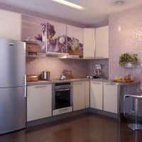 кухонный гарнитур с фотопечатью на фасадах лаванда