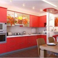 кухонный гарнитур с фотопечатью осенние листья