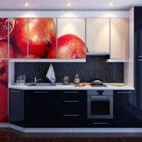 черный прямой кухонный гарнитур с фотопечатью гранат