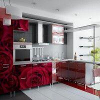 кухонный гарнитур с фотопечатью розы на всех фасадах