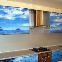кухонный гарнитур с фотопечатью море и небо на всех фасадах
