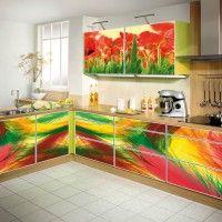 кухонный гарнитур разноцветная фотопечать на всех фасадах