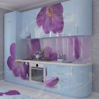 голубой кухонный гарнитур с радиусными фасадами