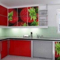 кухонный гарнитур фотопечать клубника