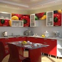 угловой кухонный гарнитур фотопечать перец