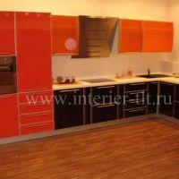 угловые кухонные гарнитуры красного цвета фото