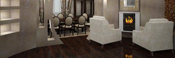 дизайн комнаты с камином