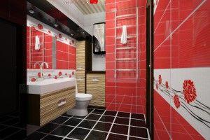 красно-черная ванная комната фото