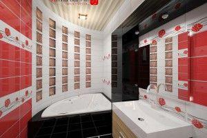 дизайн ванной комнаты красно белой