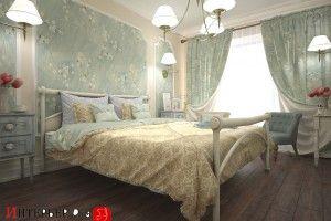 дизайн спальни прямоугольной