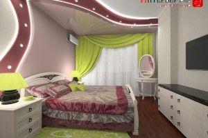 интерьер спальни с туалетным столиком