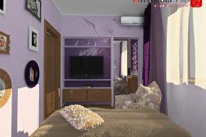 дизайн спальни сиреневого цвета